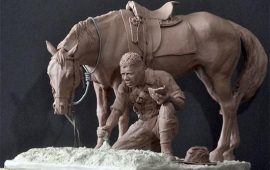 טקס חשיפת פסל הלוחם האבוריג'יני וסוסו